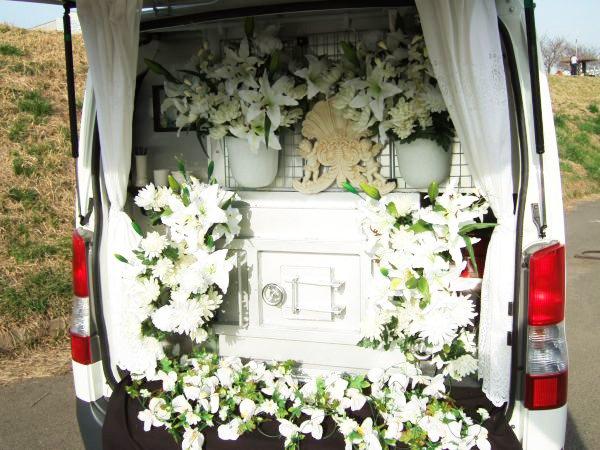 弊社独自のオリジナリティーがあるフラワー訪問ペット火葬車